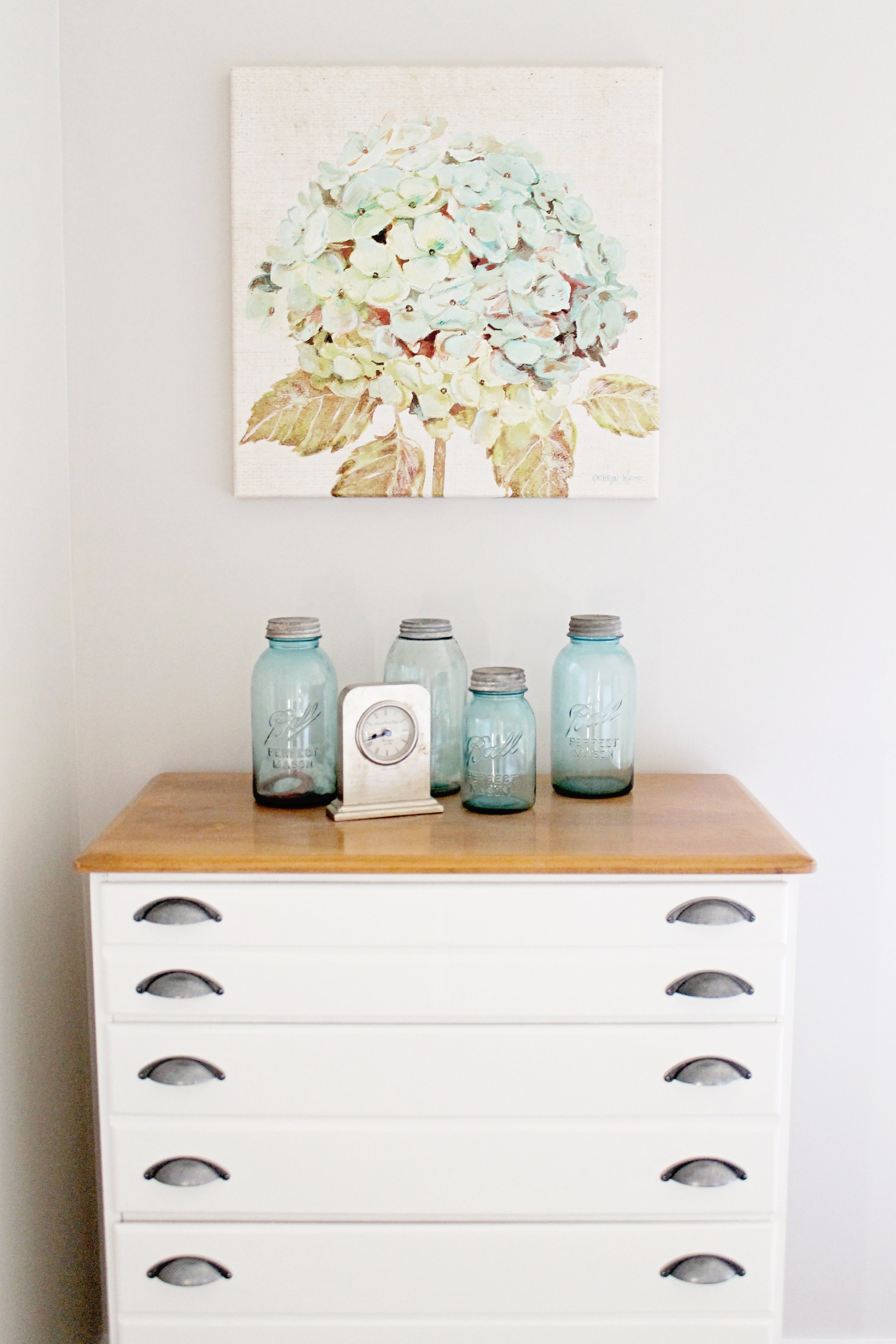 Elizabeth Burns Design | Family Farmhouse Fixer Upper Before and After - Guest Bedroom Renovation, Sherwin Williams Agreeable Gray, Greige and Aqua design, budget remodel