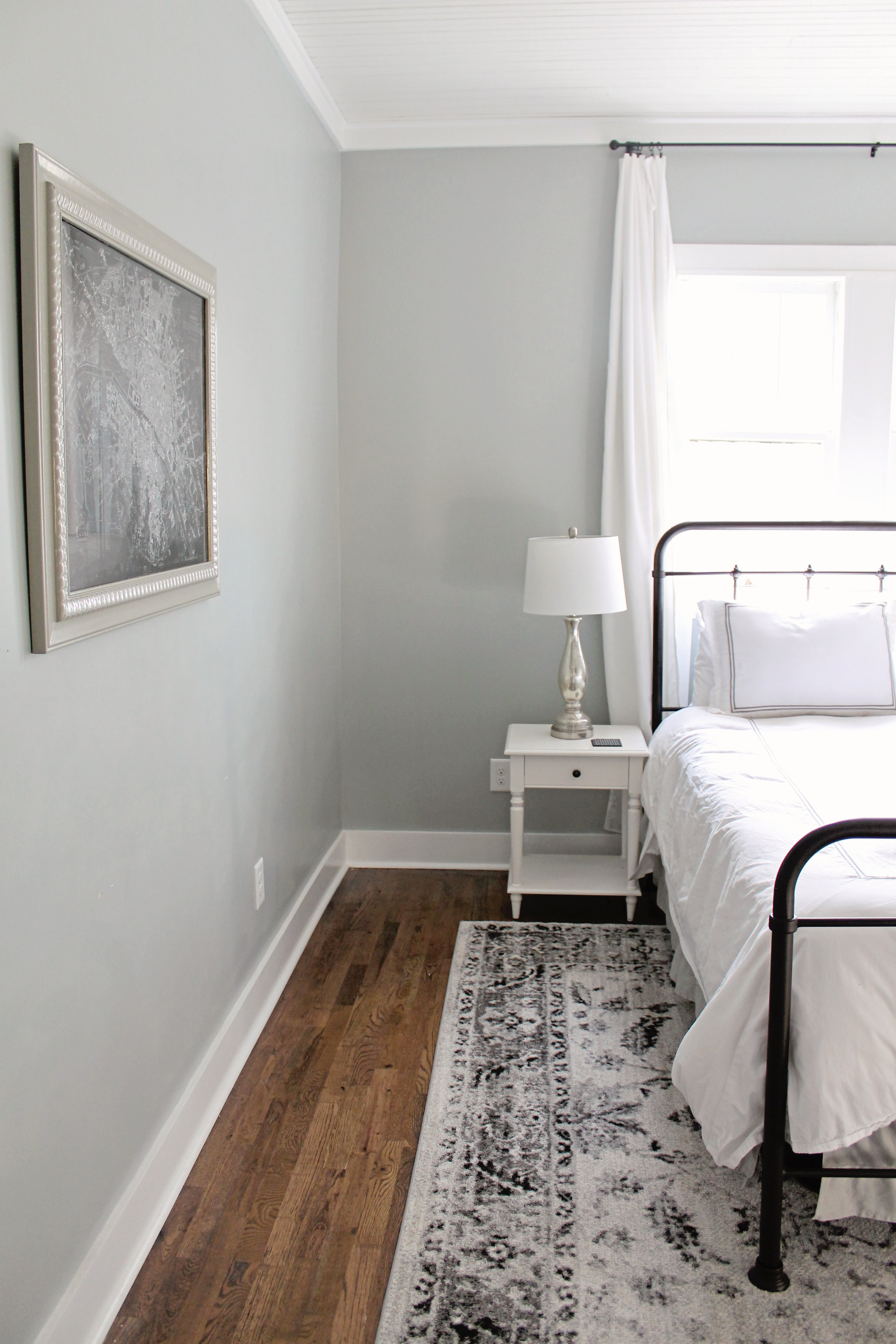 Elizabeth Burns Design | Family Farmhouse Fixer Upper - Master Bedroom before and afters on a budget, Sherwin Williams Magntic Gray