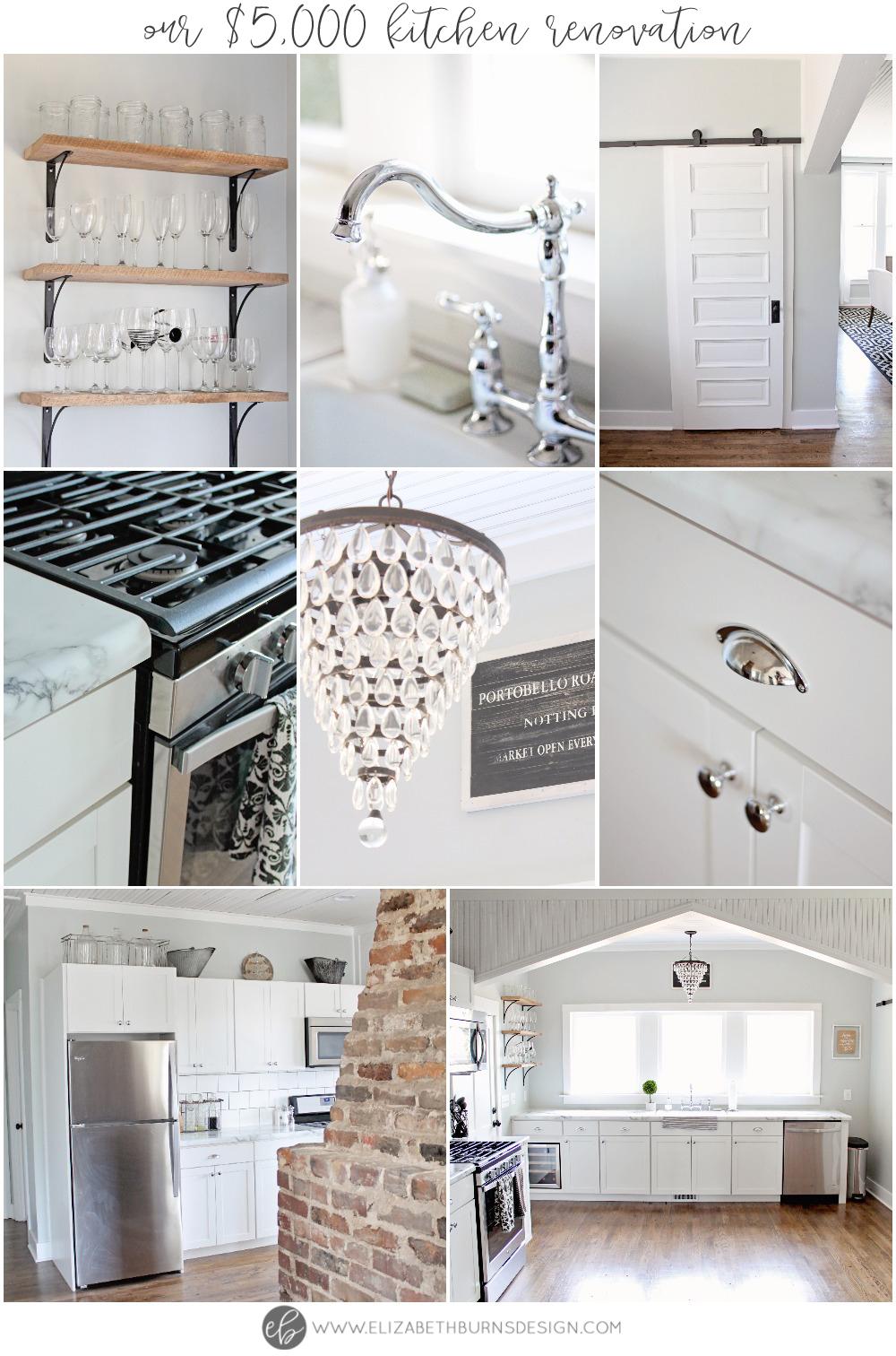 Elizabeth Burns Design | Budget Kitchen Renovation - marble countertops, white shaker cabinets, barnwood shelves, barn door - $5000 budget