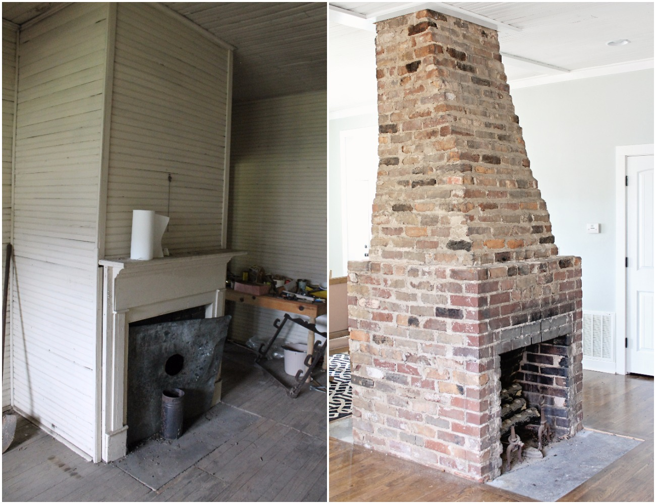 Elizabeth Burns Design | Old farmhouse fixer upper kitchen renovation - exposed brick fireplace before and after
