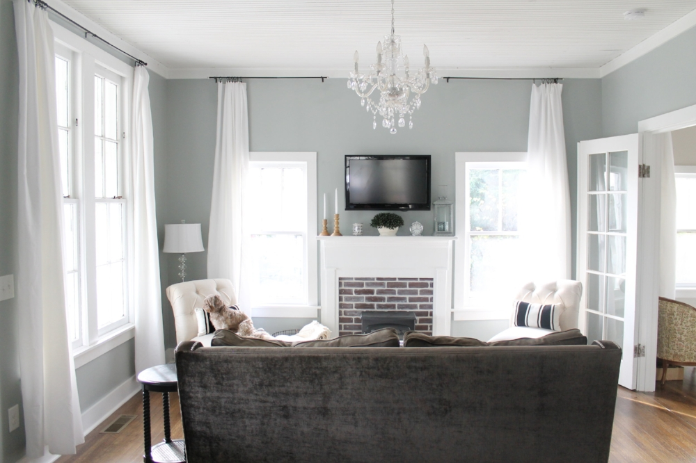 Elizabeth Burns Design | DIY Inexpensive Window Treatments for Large Windows - White Curtains for Cheap