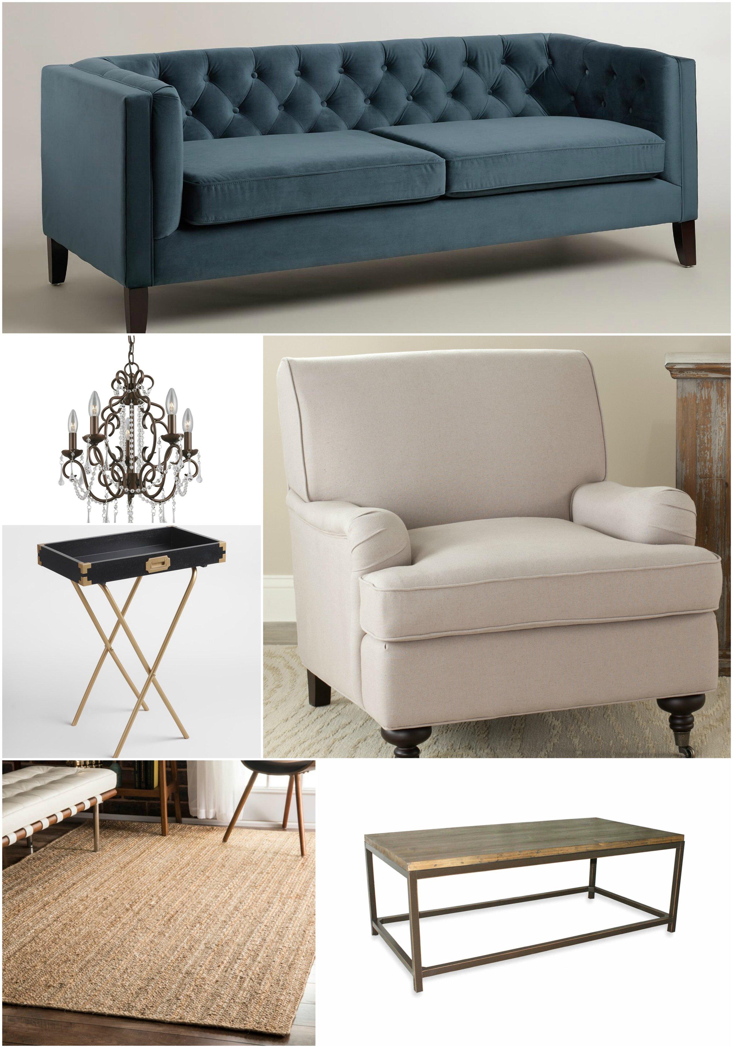 Elizabeth Burns Design | Designer Look for Less: Blue Sofa, Linen Chair, Jute Rug