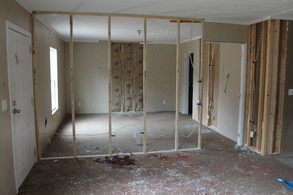 Elizabeth Burns Design   How to Flip Houses - living room before with drywall removed
