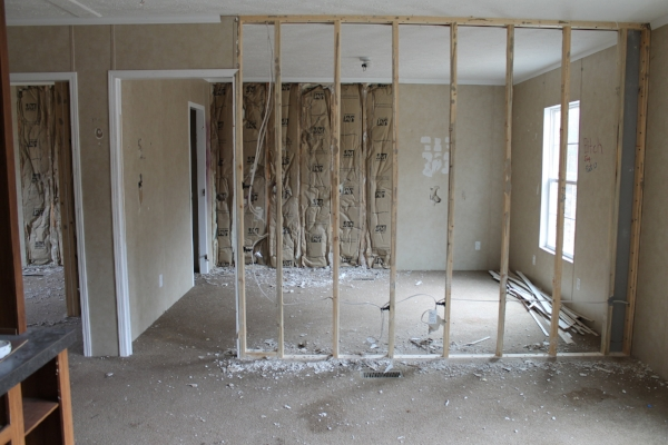Elizabeth Burns Design   How to Flip Houses - living room and carpet before with drywall removed