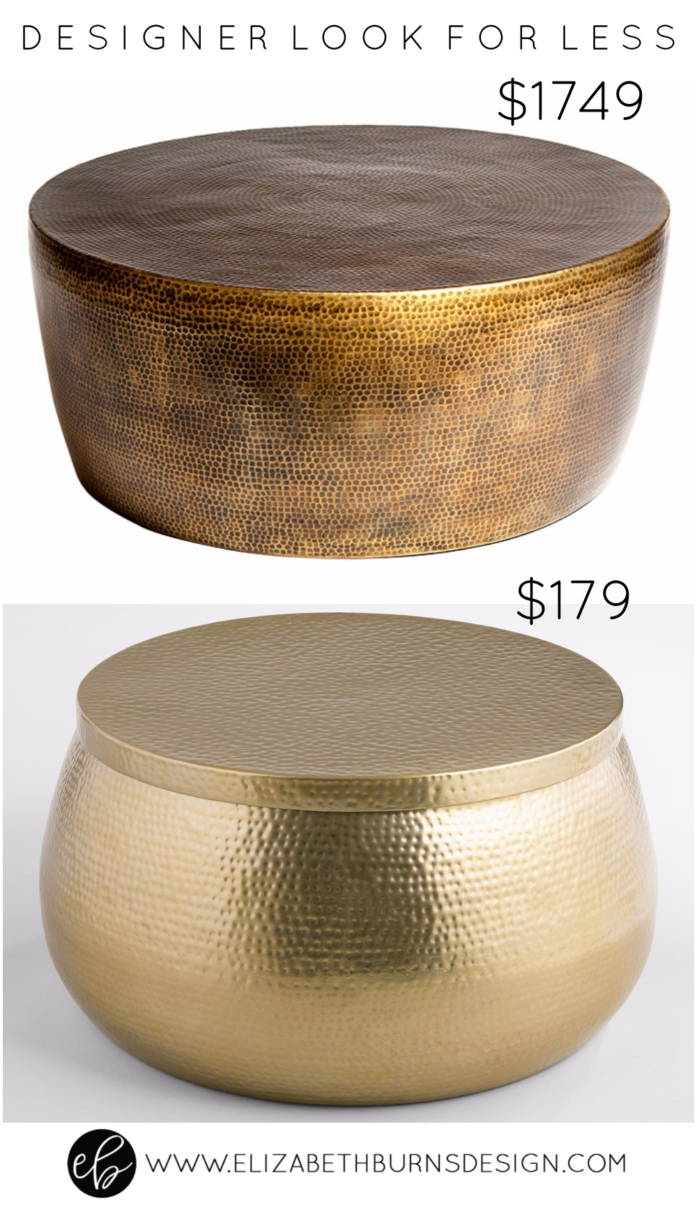 Elizabeth Burns Design | Designer Look for Less - Gold Hammered Coffee or Cocktail Table: high end and low end
