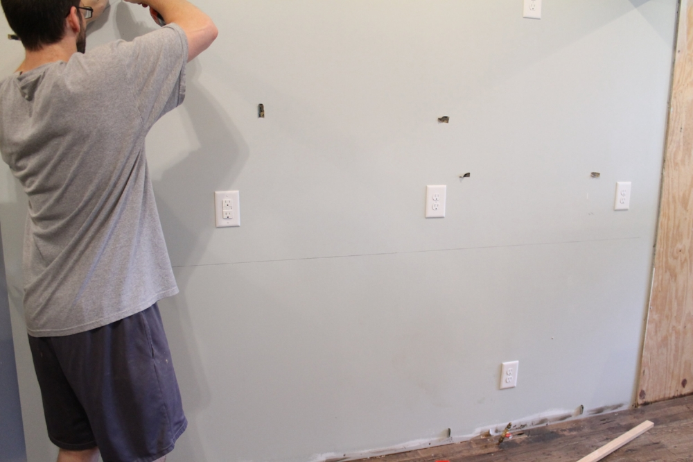 How to Install Kitchen Cabinets - Find all of the studs | Elizabeth Burns Design
