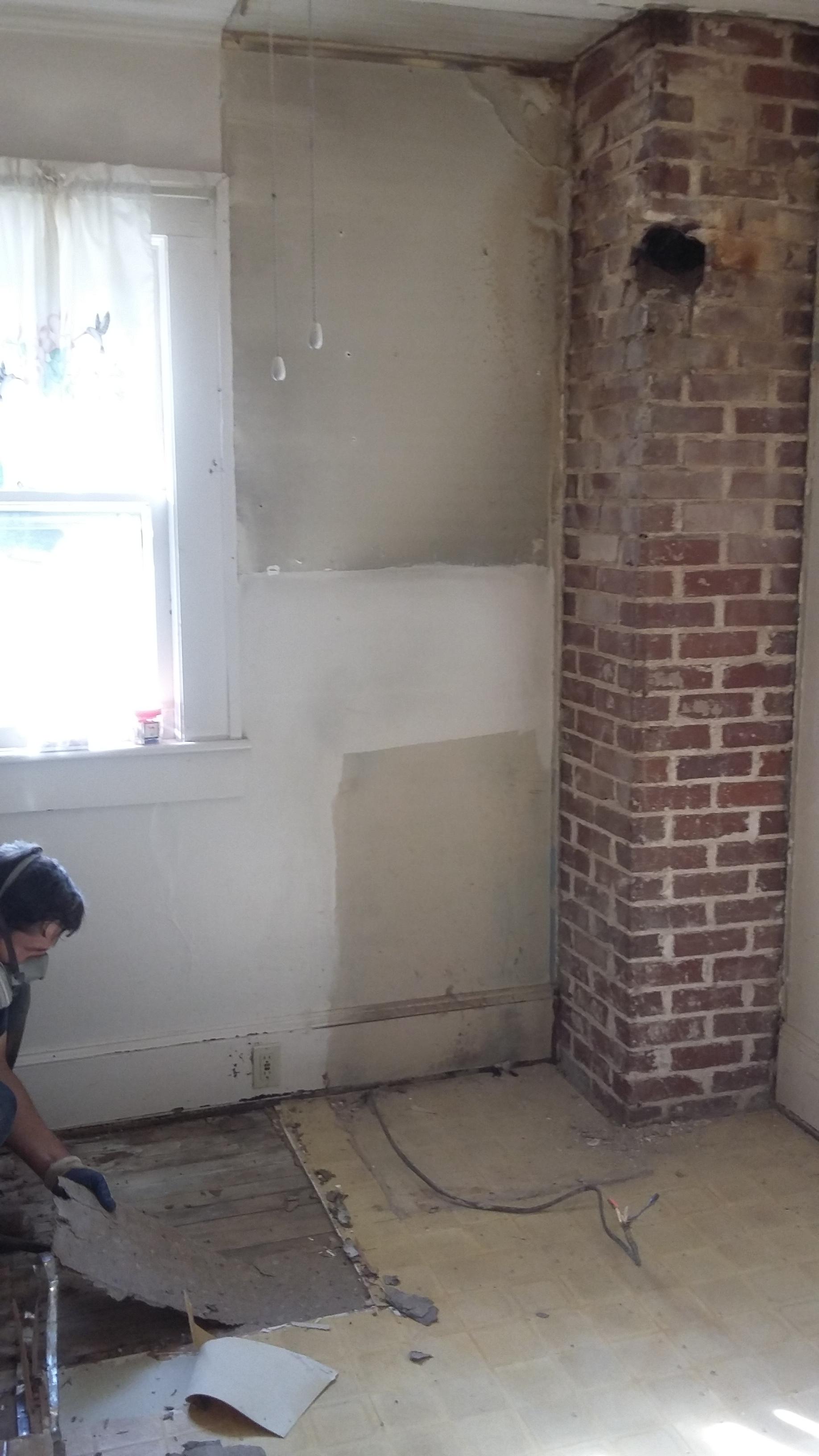House Flipping - Exposing Brick Chimney   Elizabeth Burns Design