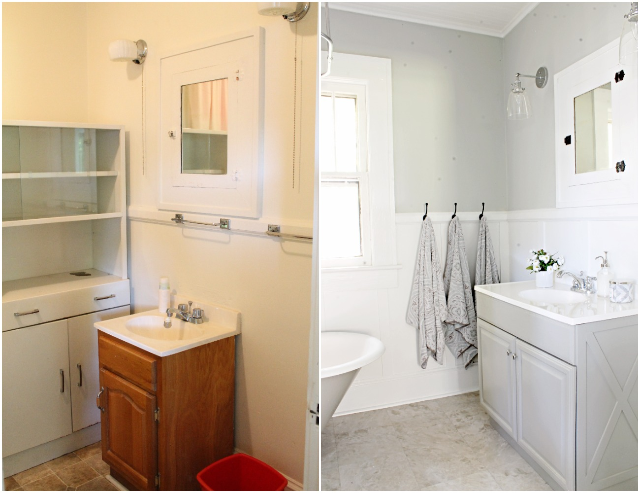 House Flipping Before and Afters - Budget Bathroom Renovation, White Gray and Blue Bath - Sherwin Williams Silver Strand 21