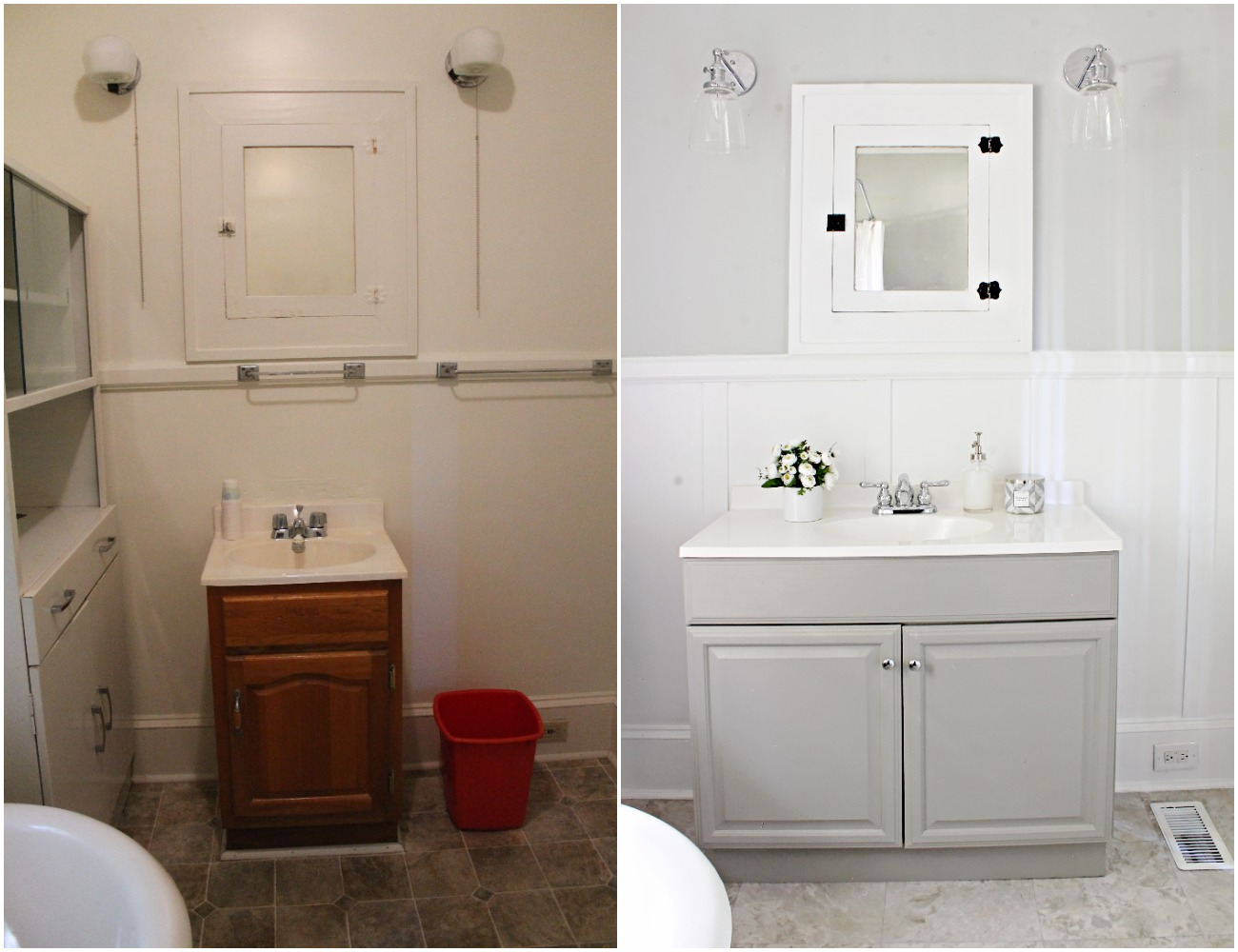 House Flipping Before and Afters - Budget Bathroom Renovation, White Gray and Blue Bath - Sherwin Williams Silver Strand 22