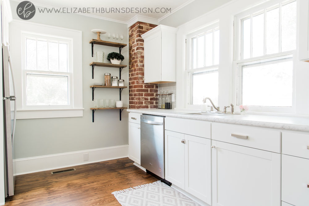 House Flipping Before and Afters - Budget Kitchen Renovation, Cheap Cabinets, Cheap Countertops - Sherwin Williams Silver Strand (4).jpg