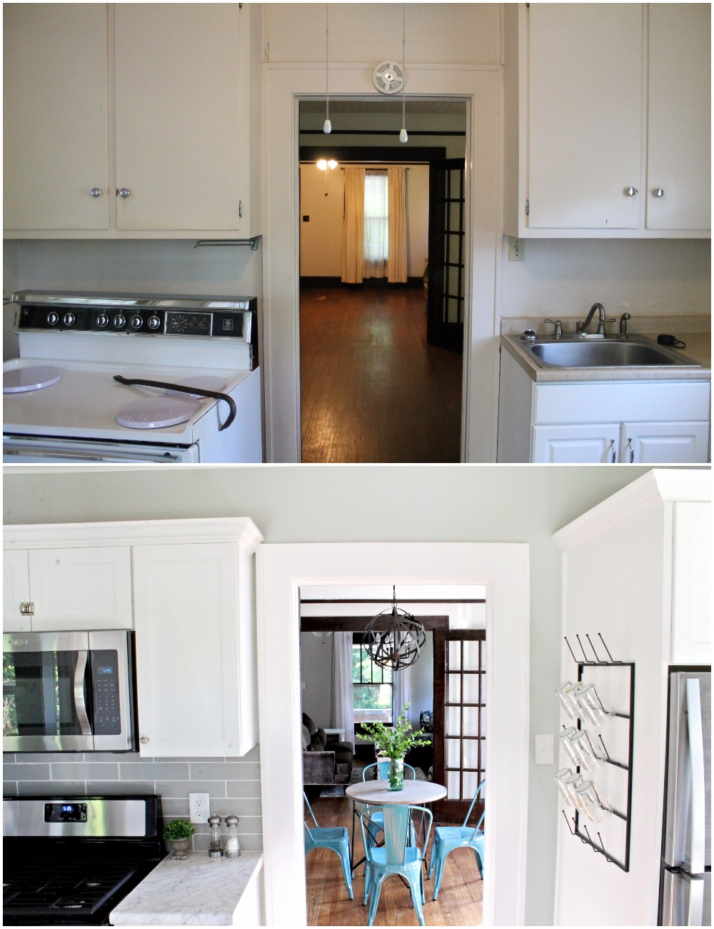 House Flipping Before and Afters - Budget Kitchen Renovation, Cheap Cabinets, Cheap Countertops - Sherwin Williams Silver Strand 21