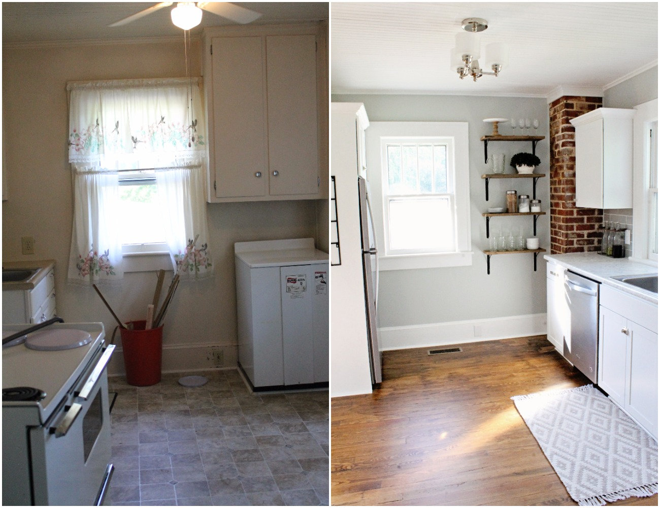 House Flipping Before and Afters - Budget Kitchen Renovation, Cheap Cabinets, Cheap Countertops - Sherwin Williams Silver Strand 22