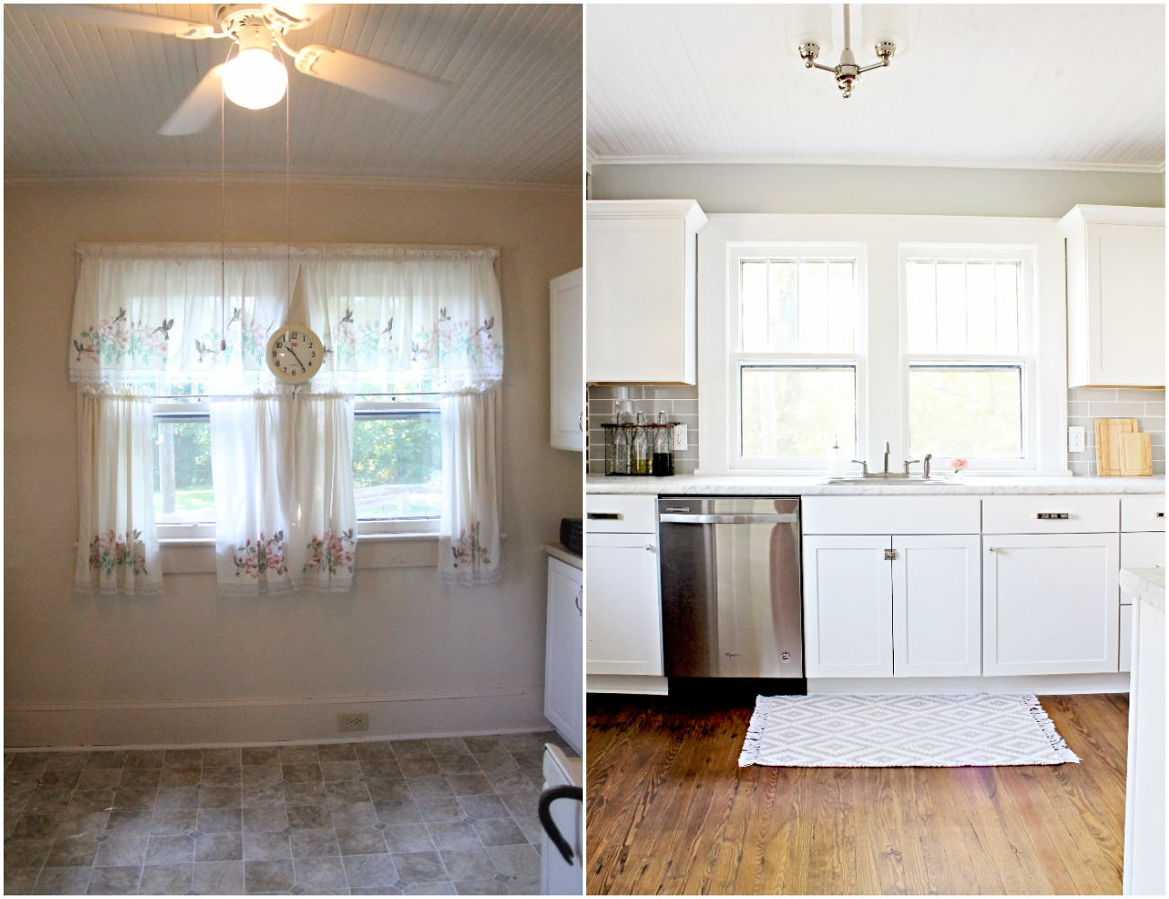 House Flipping Before and Afters - Budget Kitchen Renovation, Cheap Cabinets, Cheap Countertops - Sherwin Williams Silver Strand 24
