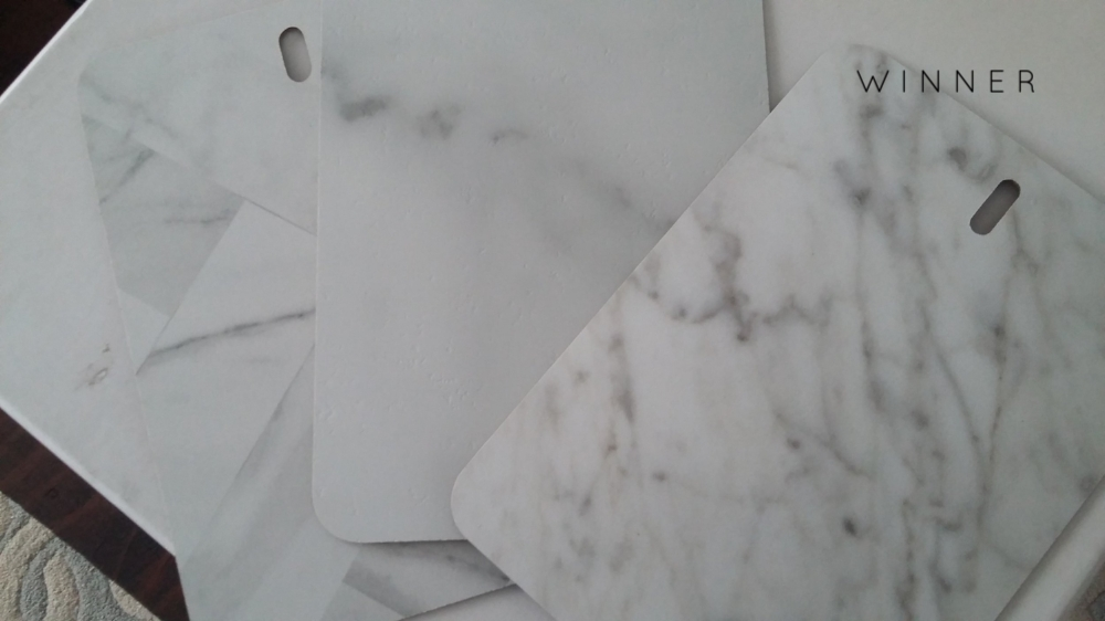 Marble Laminate Counter Top Options - Formica Calacatta Marble and Carrara Bianco