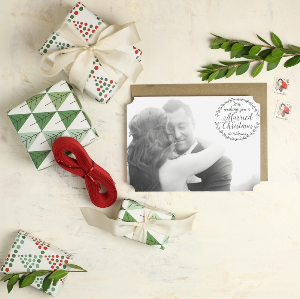 Basic Invite | Married Christmas Holiday Photo Card