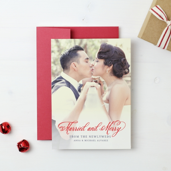 Basic Invite | Married and Merry Holiday Photo Card