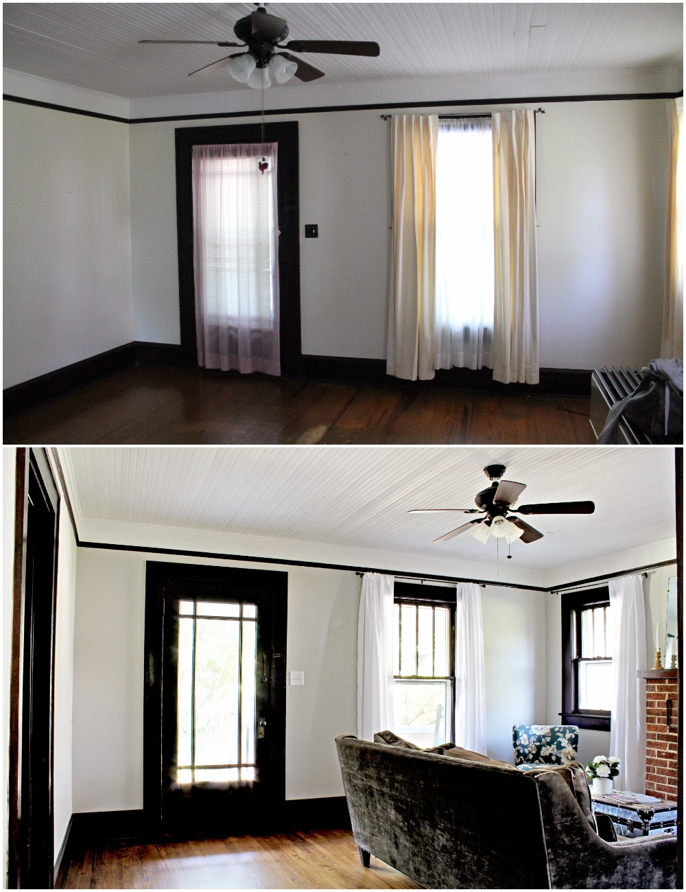 House Flipping Before and Afters - Living Room Budget Renovation Remodel, Wood Trim Paint Colors - Sherwin Williams Repose Gray (4).jpg