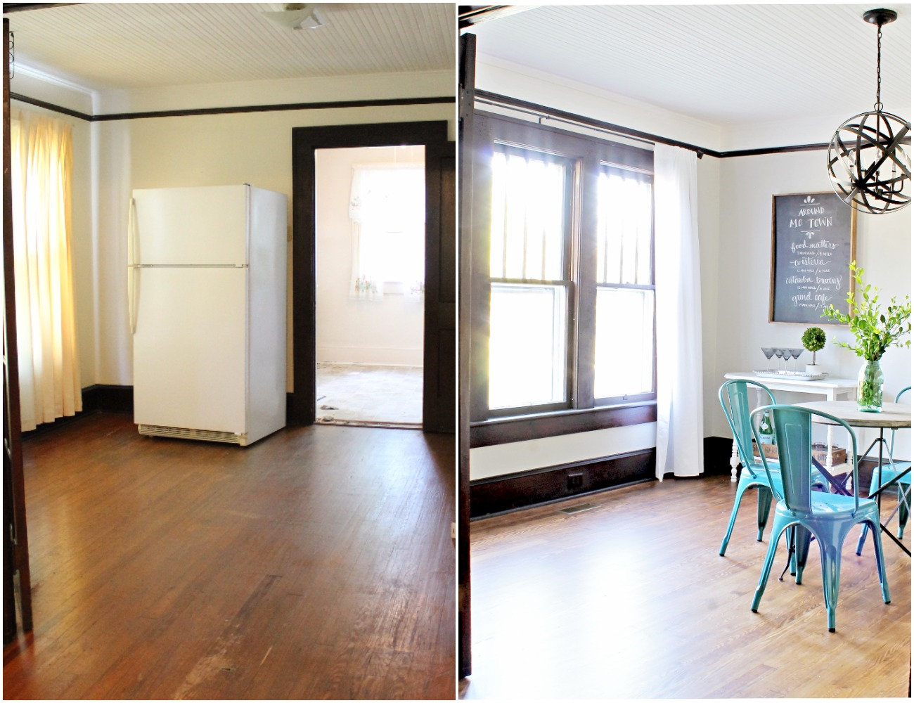 House Flipping Before and Afters - Dining Room Budget Renovation Remodel, Wood Trim Paint Colors - Sherwin Williams Repose Gray (2).jpg