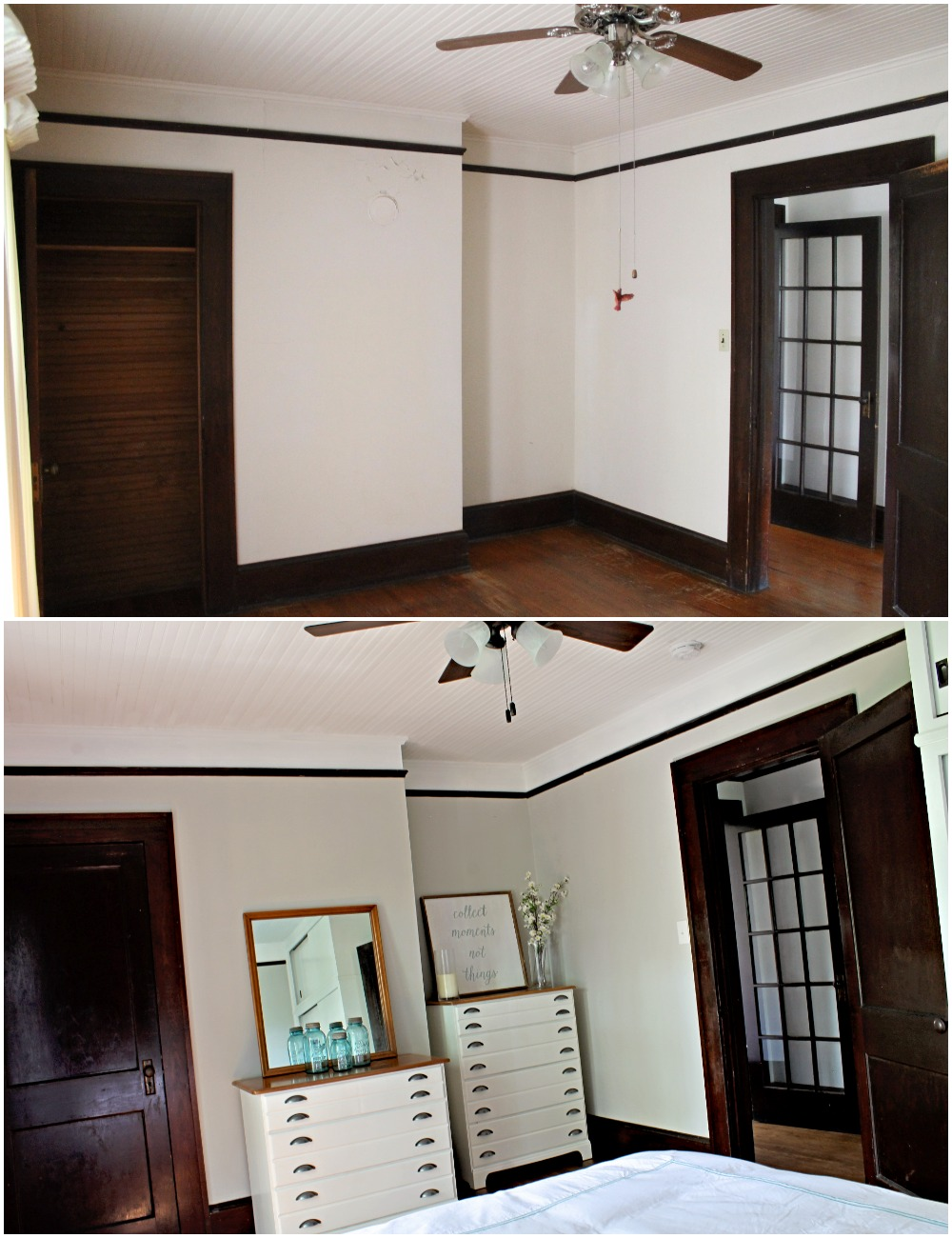 House Flipping Before and Afters - Bedroom Staging Ideas, Wood Trim Paint Colors - Sherwin Williams Repose Gray 11