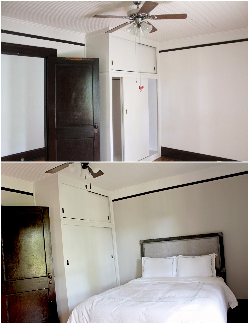 House Flipping Before and Afters - Bedroom Staging Ideas, Wood Trim Paint Colors - Sherwin Williams Repose Gray 12