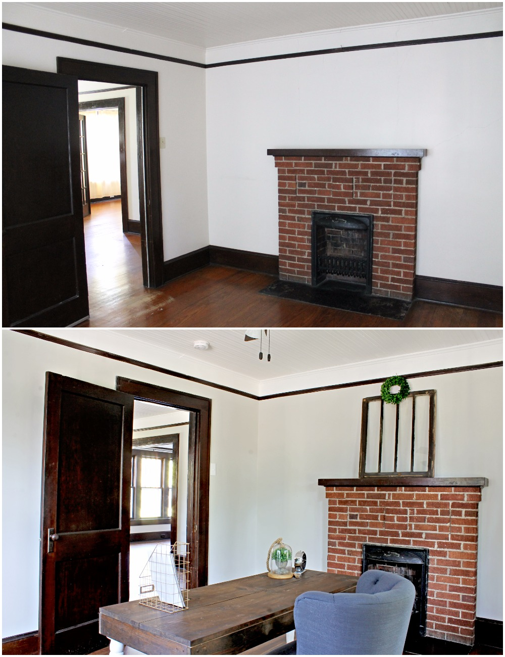 House Flipping Before and Afters - Office Staging Ideas, Wood Trim Paint Colors - Sherwin Williams Repose Gray 11