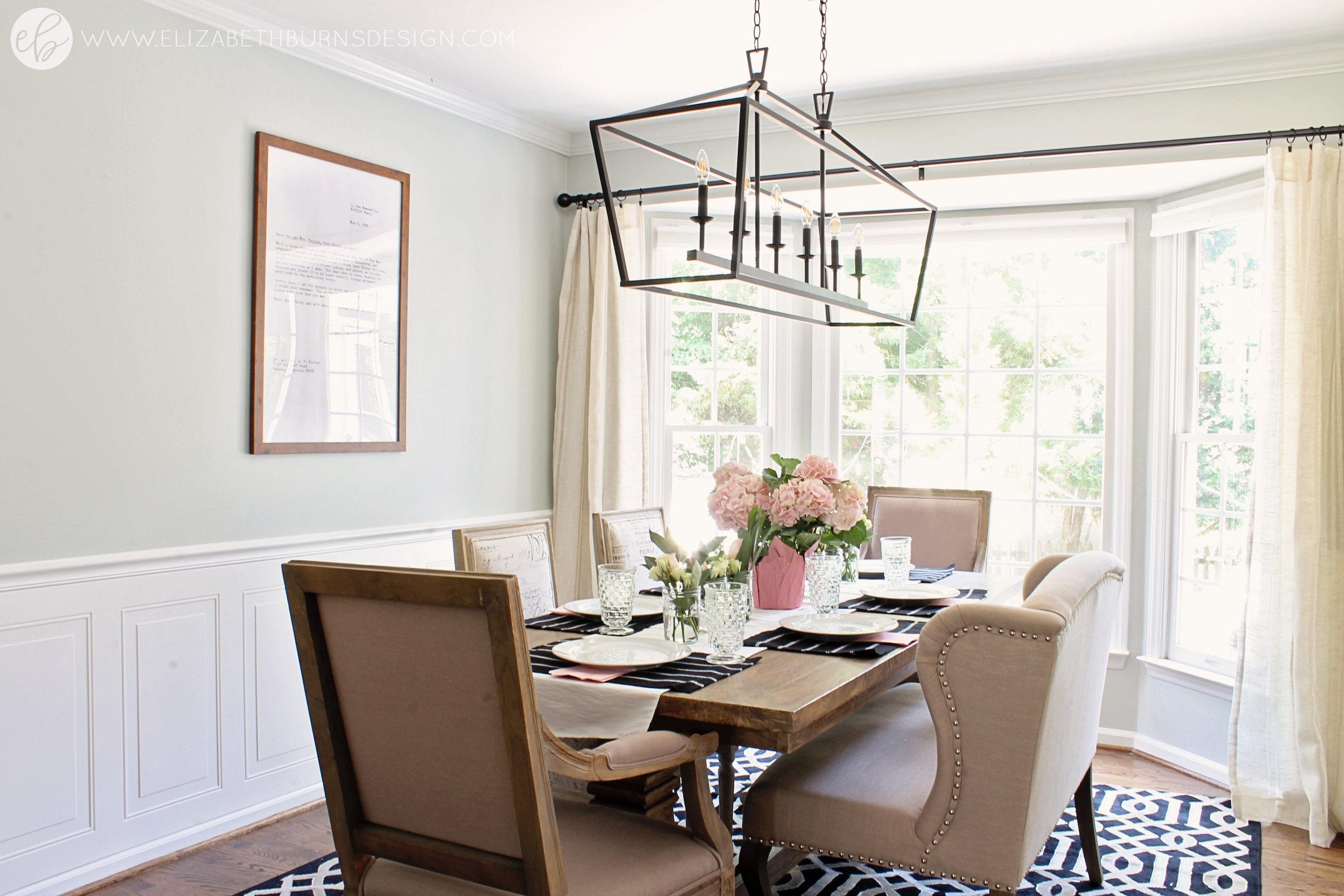 Elizabeth Burns Design - Budget Farmhouse Small Dining Room Sherwin Williams Silver Strand Trestle Table Linen Chairs DIY Wainscoting Dark Walnut Oak Floor (2).jpg