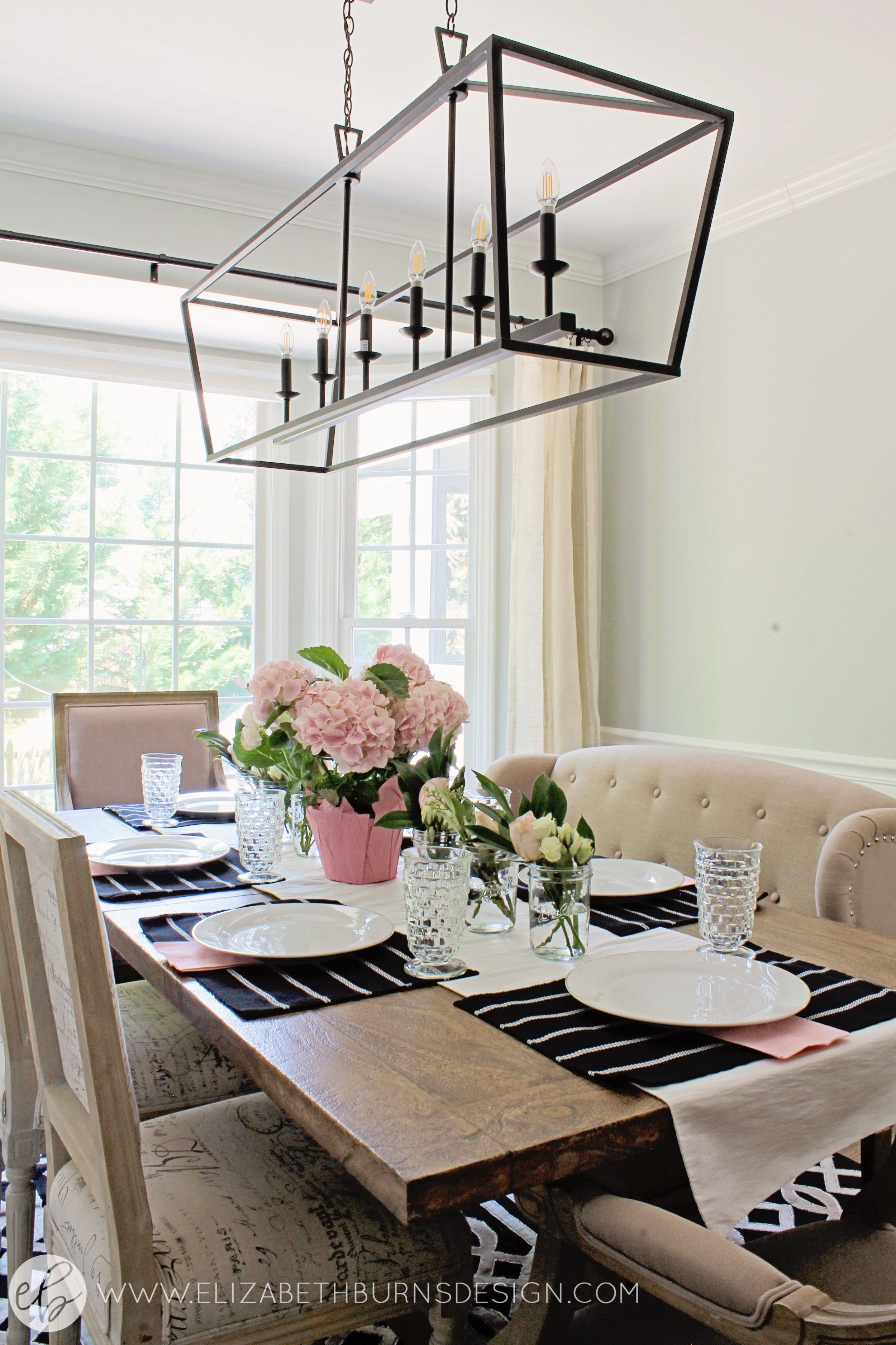 Elizabeth Burns Design - Budget Farmhouse Small Dining Room Sherwin Williams Silver Strand Trestle Table Linen Chairs DIY Wainscoting Dark Walnut Oak Floor (6).jpg