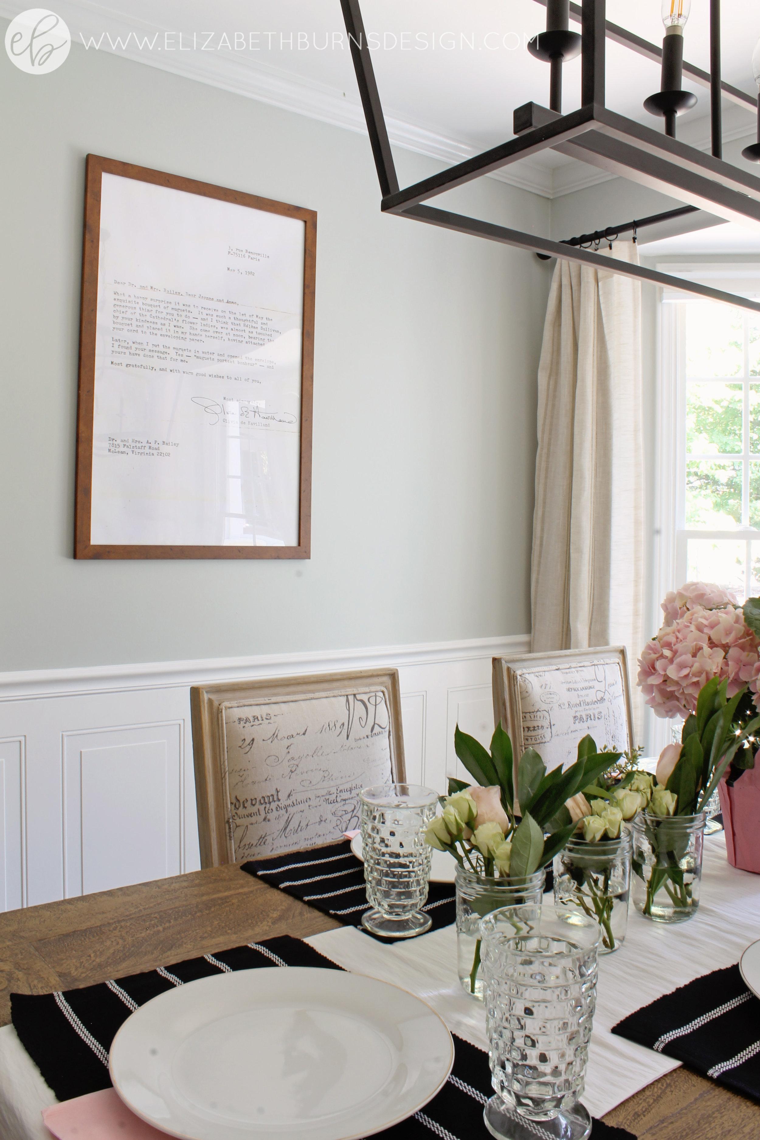 Elizabeth Burns Design - Budget Farmhouse Small Dining Room Sherwin Williams Silver Strand Trestle Table Linen Chairs DIY Wainscoting Dark Walnut Oak Floor (7).jpg
