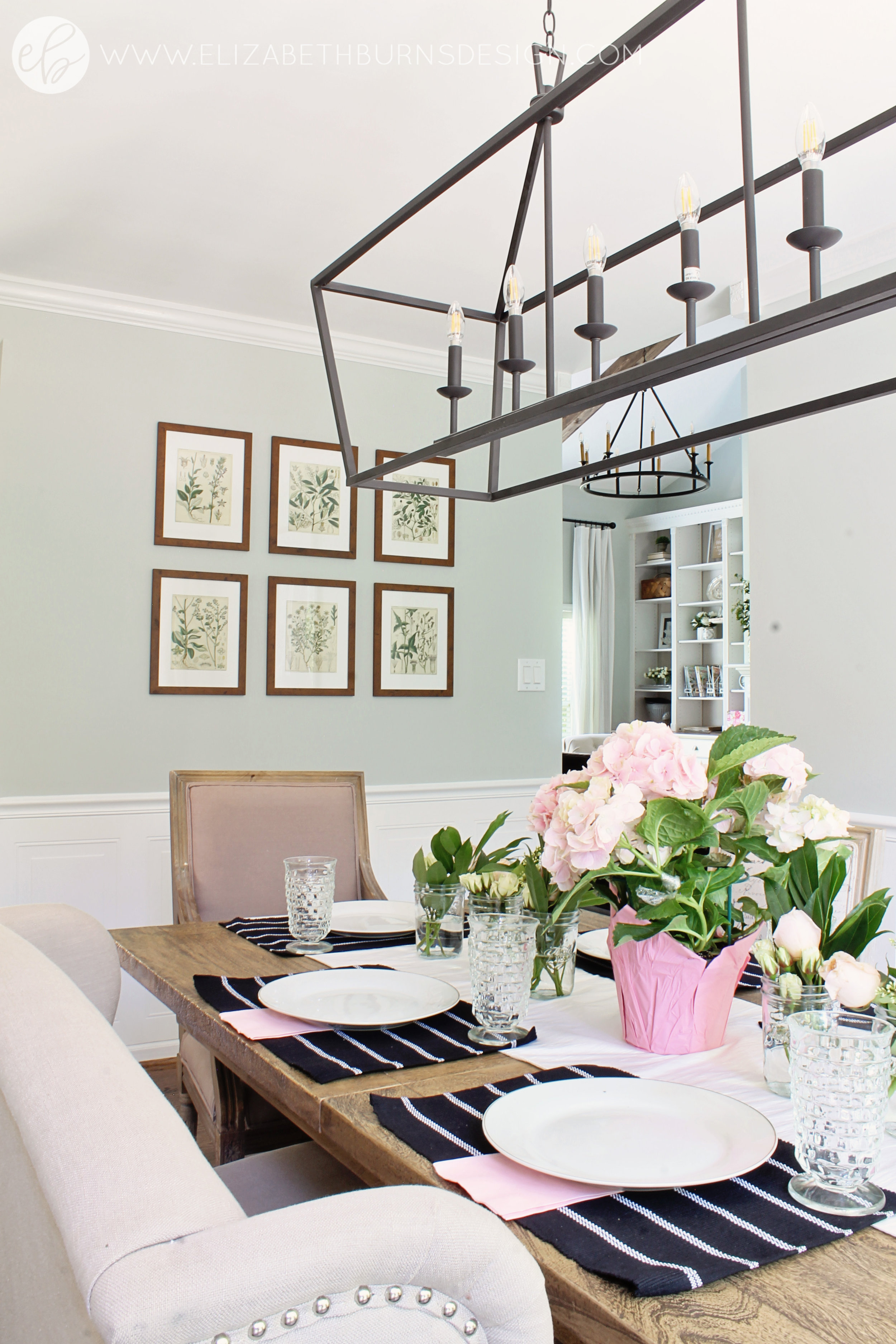 Elizabeth Burns Design - Budget Farmhouse Small Dining Room Sherwin Williams Silver Strand Trestle Table Linen Chairs DIY Wainscoting Dark Walnut Oak Floor (4).jpg