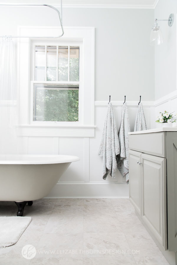 House Flipping Before and Afters - Budget Bathroom Renovation, White Gray and Blue Bath - Sherwin Williams Silver Strand (10).jpg