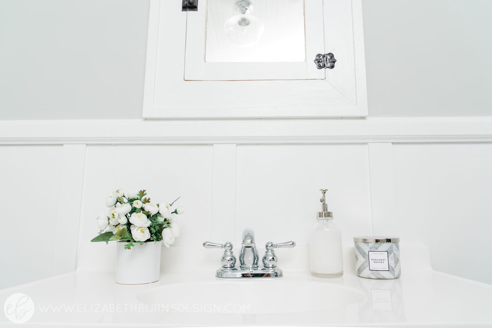 House Flipping Before and Afters - Budget Bathroom Renovation, White Gray and Blue Bath - Sherwin Williams Silver Strand (15).jpg