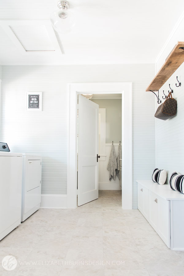House Flipping Before and Afters - Budget Mudroom and Laundry Room Renovation, Mud Room bench - Sherwin Williams Silver Strand (3).jpg