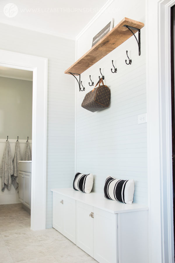House Flipping Before and Afters - Budget Mudroom and Laundry Room Renovation, Mud Room bench - Sherwin Williams Silver Strand (4).jpg