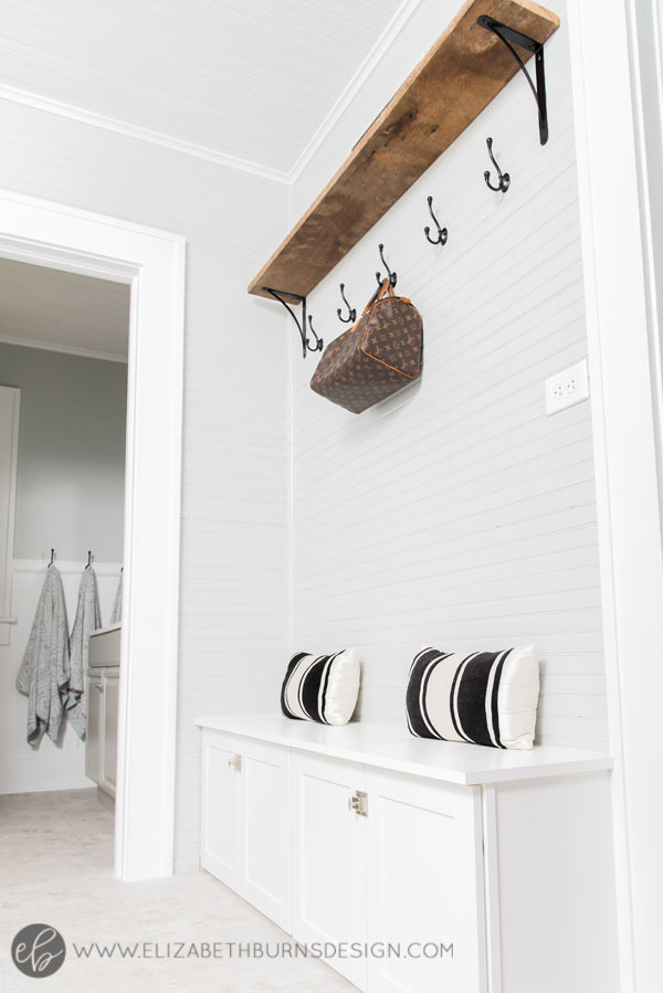 House Flipping Before and Afters - Budget Mudroom and Laundry Room Renovation, Mud Room bench - Sherwin Williams Silver Strand (8).jpg
