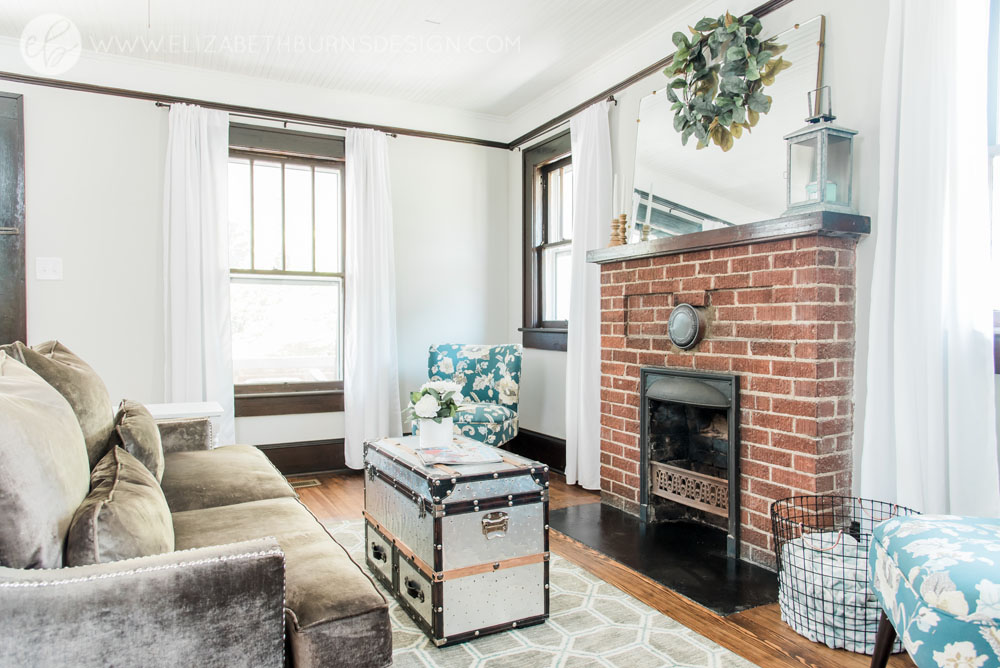House Flipping Before and Afters - Living Room Staging Ideas, Wood Trim Paint Colors - Sherwin Williams Repose Gray (3).jpg