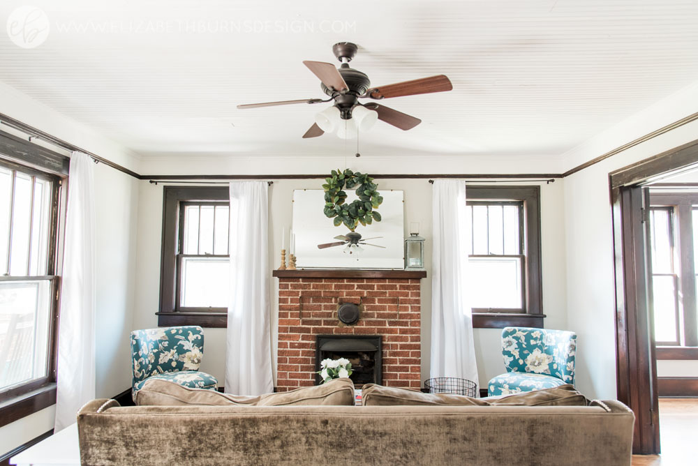 House Flipping Before and Afters - Living Room Staging Ideas, Wood Trim Paint Colors - Sherwin Williams Repose Gray (4).jpg
