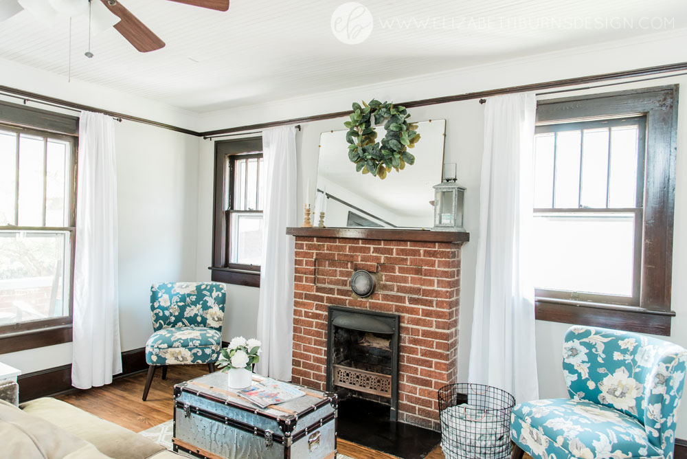 House Flipping Before and Afters - Living Room Staging Ideas, Wood Trim Paint Colors - Sherwin Williams Repose Gray (5).jpg