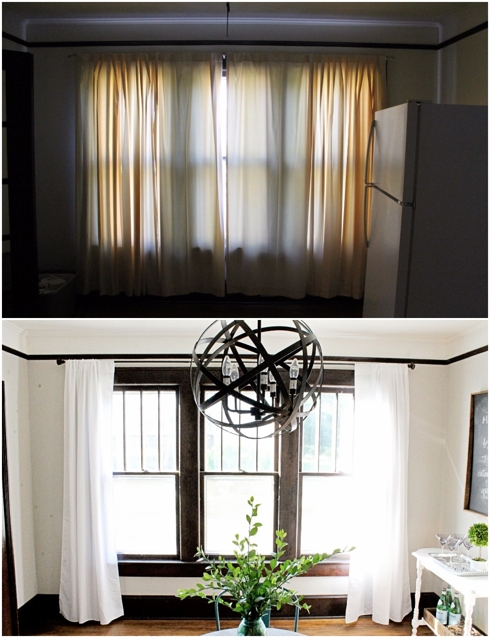 House Flipping Before and Afters - Dining Room Budget Renovation Remodel, Wood Trim Paint Colors - Sherwin Williams Repose Gray (1).jpg