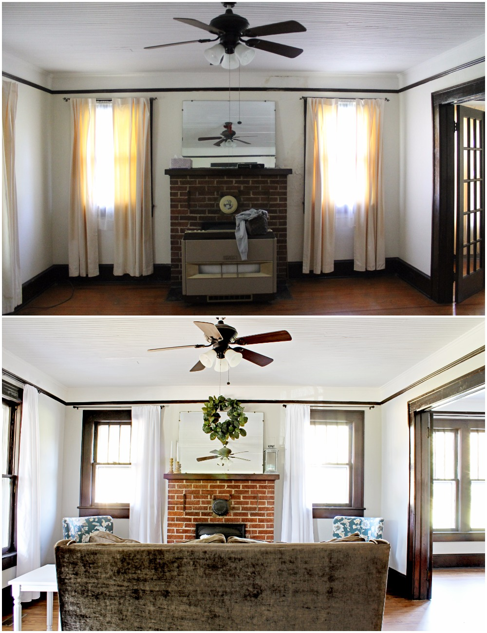 House Flipping Before and Afters - Living Room Budget Renovation Remodel, Wood Trim Paint Colors - Sherwin Williams Repose Gray (1).jpg
