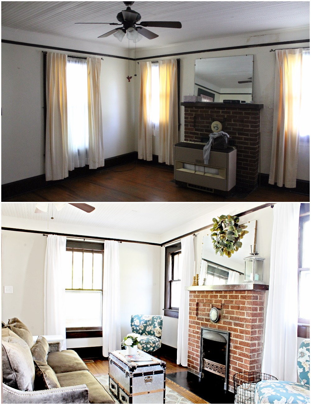 House Flipping Before and Afters - Living Room Budget Renovation Remodel, Wood Trim Paint Colors - Sherwin Williams Repose Gray (2).jpg