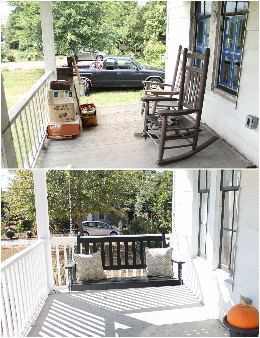 Elizabeth Burns Design  Budget-Friendly Fixer Upper Farmhouse Before and After House Flip - DIY Curb Appeal White Farm House Cottage with Black Windows and Wide Front Steps to Front Porch - Wythe Blue .jpg