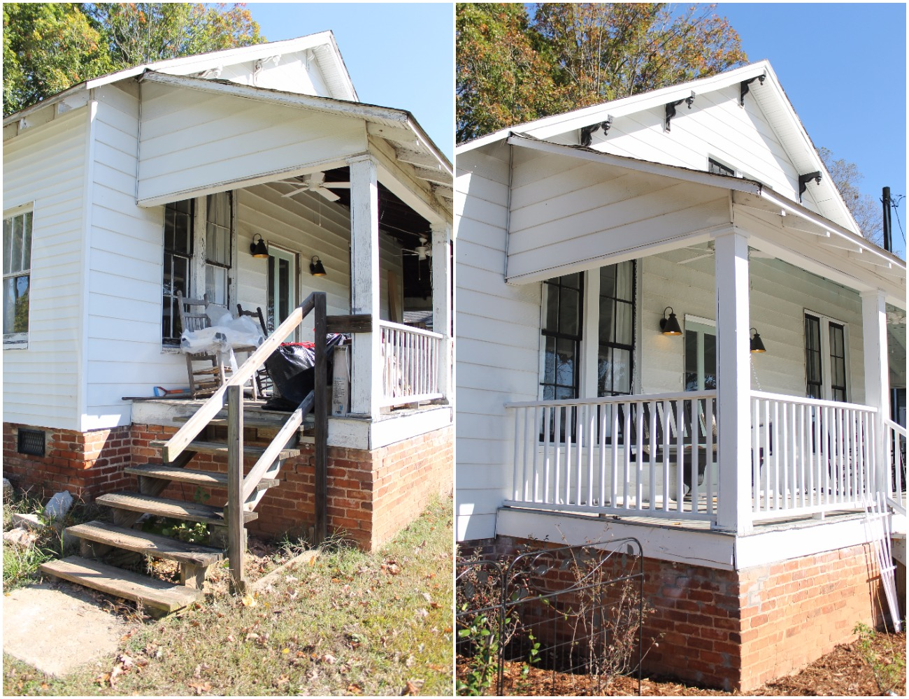 Elizabeth Burns Design  Budget-Friendly Fixer Upper Farmhouse Before and After House Flip - DIY Curb Appeal White Farm House Cottage with Black Windows and Wide Front Steps to Front Porch - Wythe Blue Door (1).jpg