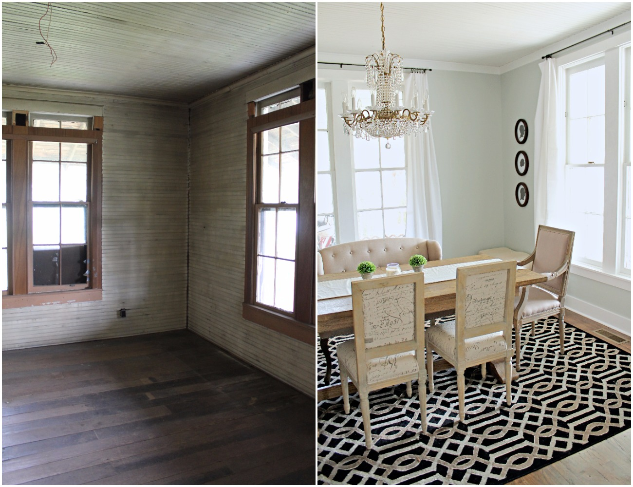 Elizabeth Burns Design  Budget-Friendly Fixer Upper Farmhouse Before and After House Flip - DIY Dining Room with Exposed Brick Fireplace - Sherwin Williams Silver Strand (4).jpg