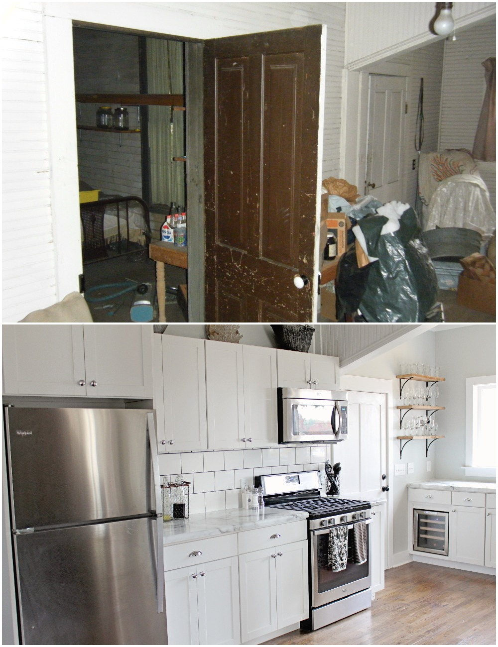 Elizabeth Burns Design  Budget-Friendly Fixer Upper Farmhouse Before and After House Flip - DIY Kitchen with Formica Marble Counter White Shaker Cabinets Barn Door - Sherwin Williams Silver Strand (2).jpg