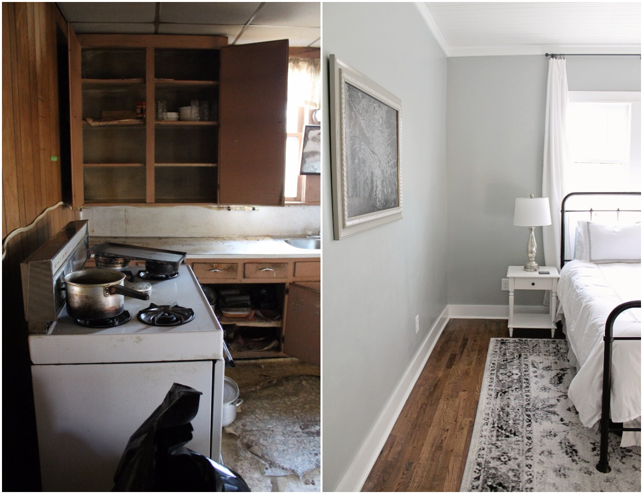 Elizabeth Burns Design  Budget-Friendly Fixer Upper Farmhouse Before and After House Flip - DIY Master Bedroom with Faux Fireplace, Chimney, and Bed Under Windows - Sherwin Williams Magnetic Gray (7).jpg