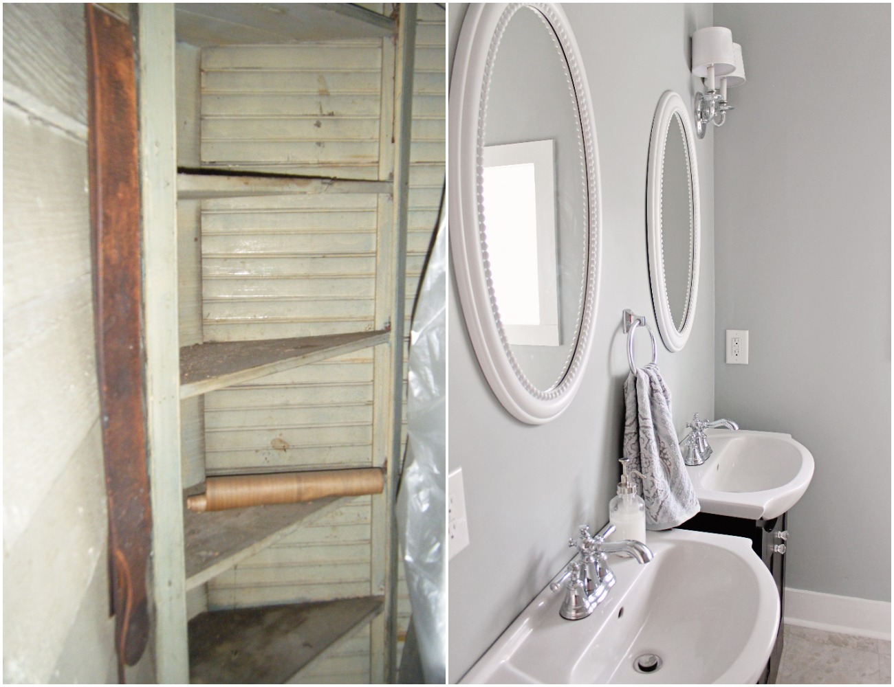 Elizabeth Burns Design  Budget-Friendly Fixer Upper Farmhouse Before and After House Flip - DIY Small Master Bathroom with Two Sinks and Subway Tile - Sherwin Williams Magnetic Gray (3).jpg