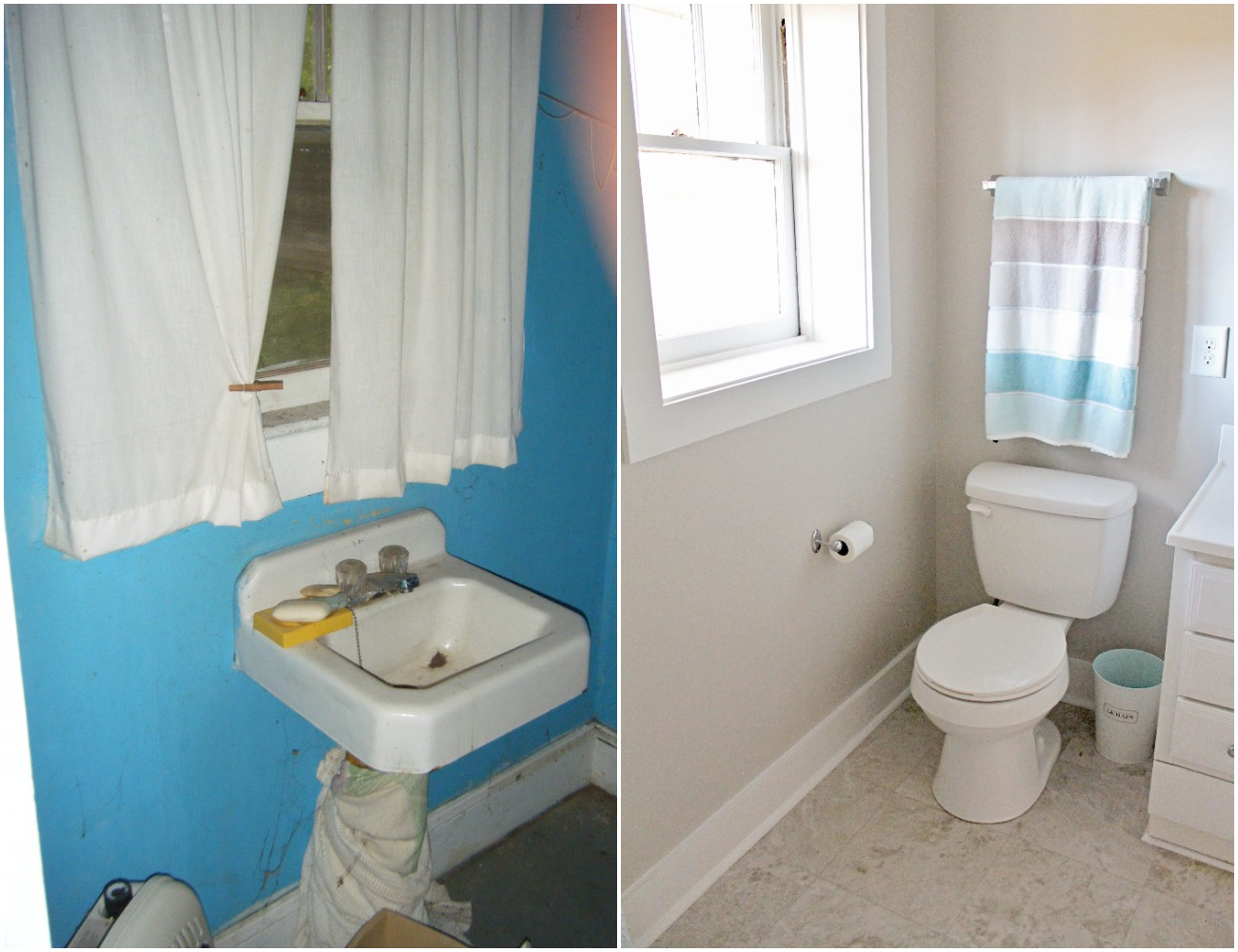 Elizabeth Burns Design  Budget-Friendly Fixer Upper Farmhouse Before and After House Flip - DIY Small Bathroom with Storage and Subway Tile - Sherwin Williams Agreeable Gray (1).jpg
