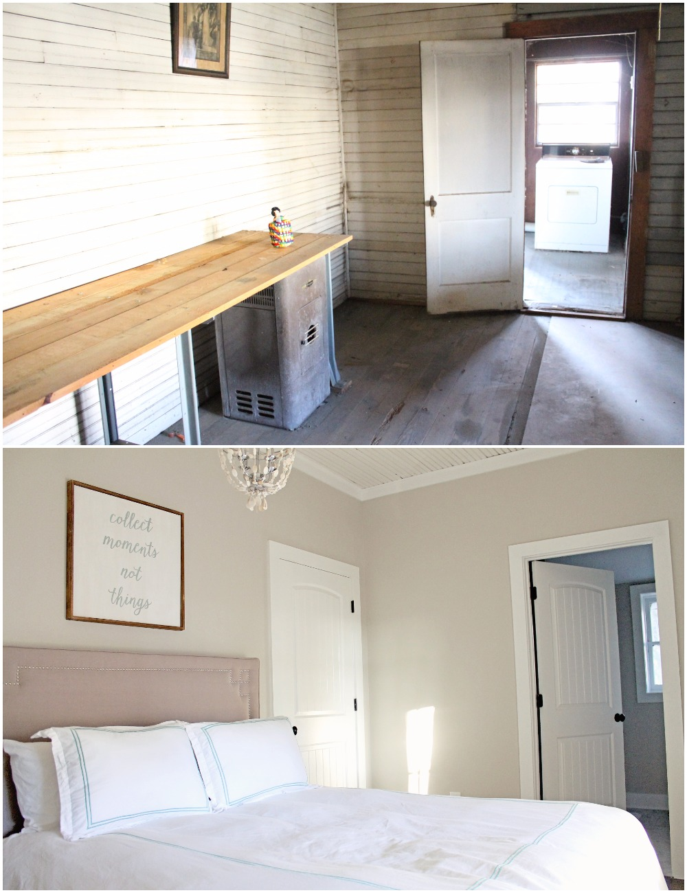 Elizabeth Burns Design  Budget-Friendly Fixer Upper Farmhouse Before and After House Flip - DIY Guest Bedroom with Aqua Accents - Sherwin Williams Agreeable Gray (1).jpg