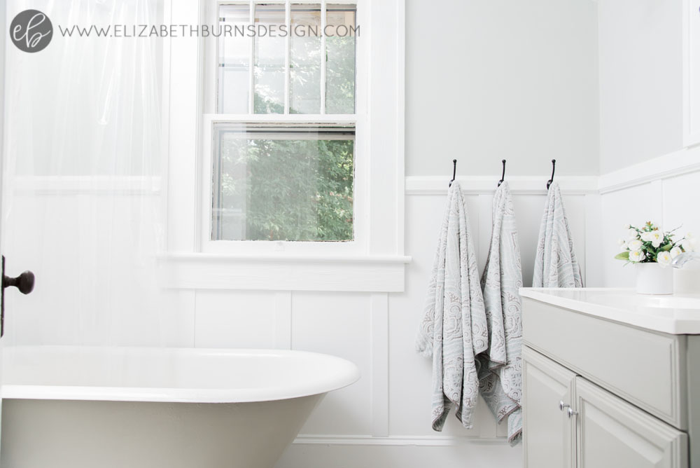 Elizabeth Burns Design | Whole House Paint Color Scheme - Sherwin Williams Silver Strand in Bathroom
