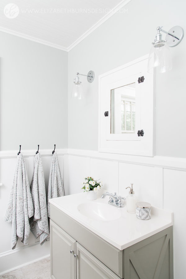 Elizabeth Burns Design | Whole House Paint Color Scheme - Sherwin Williams Silver Strand in Bathroom with Intellectual Gray Cabinet
